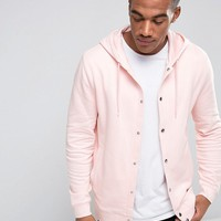 ASOS Hoodie With Snaps In Pink at asos.com