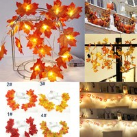 1.5M 10LED Lighted Fall Autumn Pumpkin Maple Leaves Garland Thanksgiving Decor Home Garden Dropshipping   L4