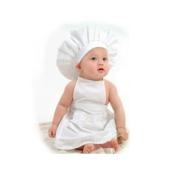 2020 New Arrival Chef Style Baby Photography Clothing Cotton Material Hat+Cloth 2pcs/Set Cute Unisex Baby Photo Accessories (white)
