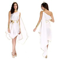 2016New adult woman halloween costumes Greek Goddess Cosplay Clothes Set White Loose Dress for party carnival