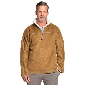 Melange & Sherpa 1/4 Zip Pullover in Saddle by True Grit
