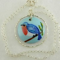 Handmade blue bird focal bead in porcelain, sterling silver necklace