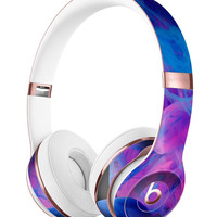 Glowing Pink and Blue CloudSwirl Full-Body Skin Kit for the Beats by Dre Solo 3 Wireless Headphones