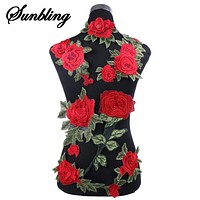 1pcs/lot Brand Patches Flowers Embroidered Patch Iron On Red Rose Fabric Repair Sew Badges Clothes Appliques DIY Wedding Sticker