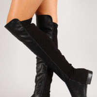 Women's Bamboo Round Toe Riding Thigh High Boot