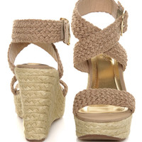 Bamboo Leanne 34 Natural Woven Espadrille Wedges - $32.00