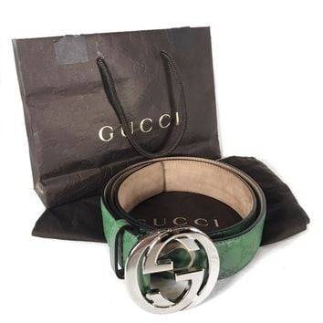 GUCCI Guccissima GG Monogram Belt Silver Buckle Green Leather 114984-1766-95-38