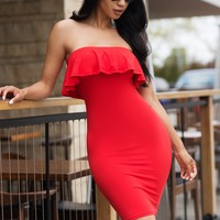 Belkis Off Shoulder Dress - Red