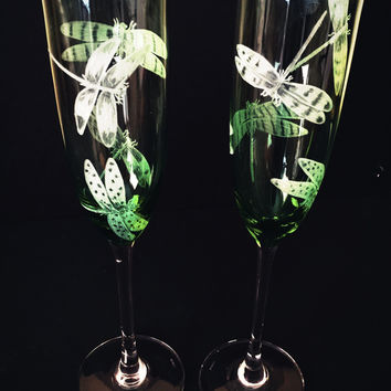 Flutes Hand Engraved, Dragonflies