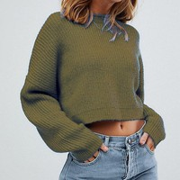 Loose long sleeved versatile umbilical pullover sweater