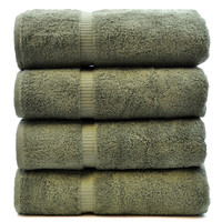 Luxury Hotel & Spa Towel 100% Genuine Turkish Cotton Bath Towels - Moss - Dobby Border  - Set of 4