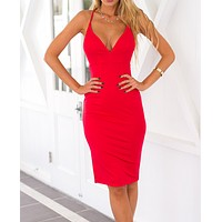 v-neck backless condole belt dress