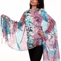 Exotic India Multi-Color Stole with Animal Print