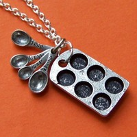 SALE - The Original Baker Charm Necklace - with mini antiqued cupcake tin and tiny measuring spoons and silver chain