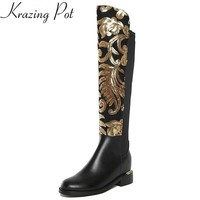 New winter shoes large size thick heel brand glitter  women Knee-High boots causal warm low heel real leather sexy fashion boots