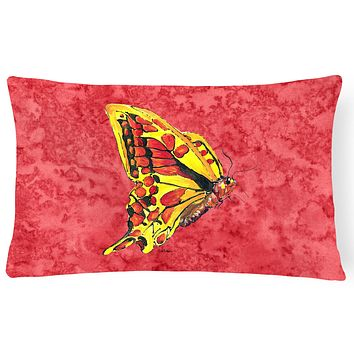 Butterfly on Red   Canvas Fabric Decorative Pillow