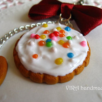 Kawaii cute handmade polymer clay gingerbread frosting cookie bowknot cell phone strap charm