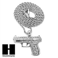 "MEN'S WHITE GOLD PLATED GUN PENDANT W 3mm 24"" ROPE CHAIN NECKLACE D32S"