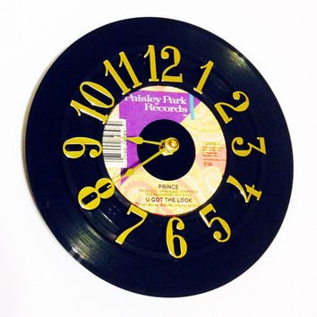 Clock, Record Clock, Vinyl Record Clock, Wall Clock, Prince Record, Recycled Record, Upcycle, Battery & Wall Hanger included, Item #30