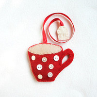 Bookmark Wool felt with a cup of tea  for booklover  - spotty tea cup red with white buttons polka dots and a tea bag - handmade