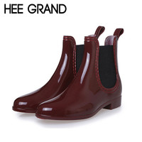 New Fashion Rain Boots Sexy Pointed Toe Women Boots Slip On Ankle Boots Casual Platform Rainboots Ladies Shoes Woman XWX2330