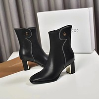 Jimmy Choo Trending Women's Black Leather Side Zip Lace-up Ankle Boots Shoes High Boots