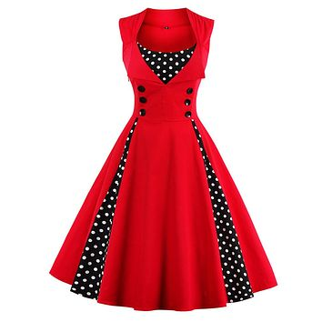 New 50s 60s Polka Dot Patchwork  Sleeveless Summer Dress