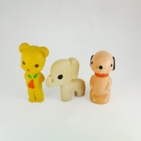 Dog, Bear and Elephant, Yellow ,Beige, Pinck Rubber Toy, Soviet Vintage, 1970's, Soviet Toy, CCCP