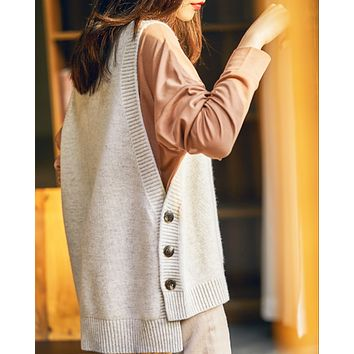 New hot sale round neck side button knitted sleeveless waistcoat sweater