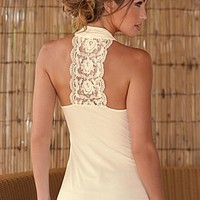 Lace Back Surplice Top