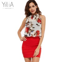 Yilia Summer 2017 Rose Floral Chiffon Dress Women Dresses Vintage