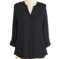 ModCloth Mid-length 3 Mellow Hello Top in Black