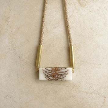 Frosted Strobili long necklace, tan cord