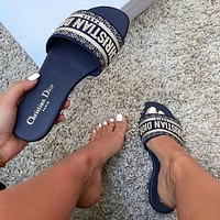 DIOR Fashion Women Casual Retro Flat Slippers Sandals Shoes Blue