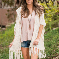 Flawless Fringe Cardigan, Cream