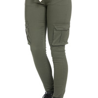 Mid Rise Skinny Olive Cargo Pants