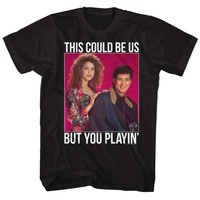 SAVED BY THE BELL-PLAYIN DOTS-BLACK ADULT S/S TSHIRT