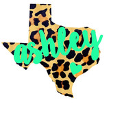 Monogram Cheetah State Home Decal Leopard Pattern Any State, Sticker,  Car Decal,  Yeti Decal Custom Decal - Texas Louisiana and More!