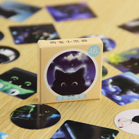 46 pcs/pack Star Sky Black Cats Diary Stickers Post it Kawaii Planner Scrapbooking Sticky Stationery Escolar School Supplies