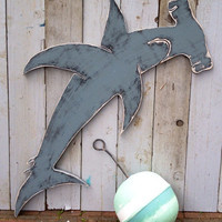 Hammerhead Shark Sign Extra Large Wall Art Beach House Decor by CastawaysHall
