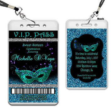 Masquerade VIP Pass Lanyard Invitations - Peacock Glitter Sweet 16 Invitations - Silver and Blue - Black and Blue - VIP Pass Party Favors