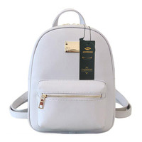 Preppy Casual Leather Backpack