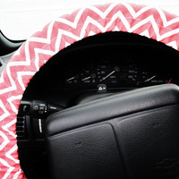 Pink and white chevron NO SLIP steering wheel cover duck fabric