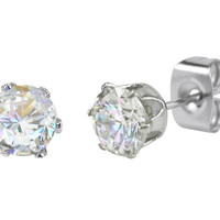 Stainless Steel Earrings CZ Studs Round Prong Setting Clear 2mm-10mm