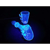 Hand Blown UV-Reactive Hammer Pipe & Shot Glass Set