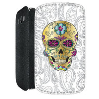 Candy Sugar Skull Paisley PU Leather Flip Cell Mobile Phone Case iPhone 4 4S 5 5S , Samsung Galaxy S3 S4