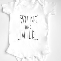 Young and Wild Screen Printed Bodysuit, T-Shirt, Arrows, Babies, Toddler, Clothing, Modern, Arrow, Trendy