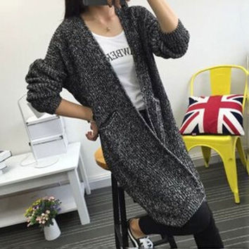 2015 winter new Korean long cardigan wide O-neck sweater women's wave point long-sleeved sweater oversized sweater jumper (Size: Adult, Color: Grey) = 1945888132