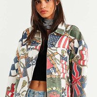 Tommy Jeans '90s Flag Print Denim Jacket   Urban Outfitters