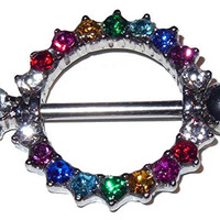 """Multi-Colored Round Nipple Shield Ring - 316L Surgical Steel - 14 Gauge, 5/8"""" - Sold Individually"""